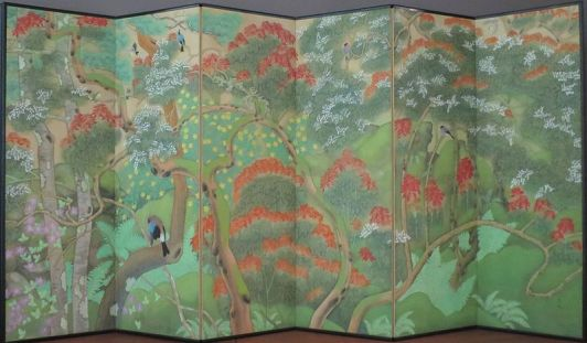 'Birds_and_Flowers'_by_Imanaka_Soyu,_Taisho_period,_LACMA_I